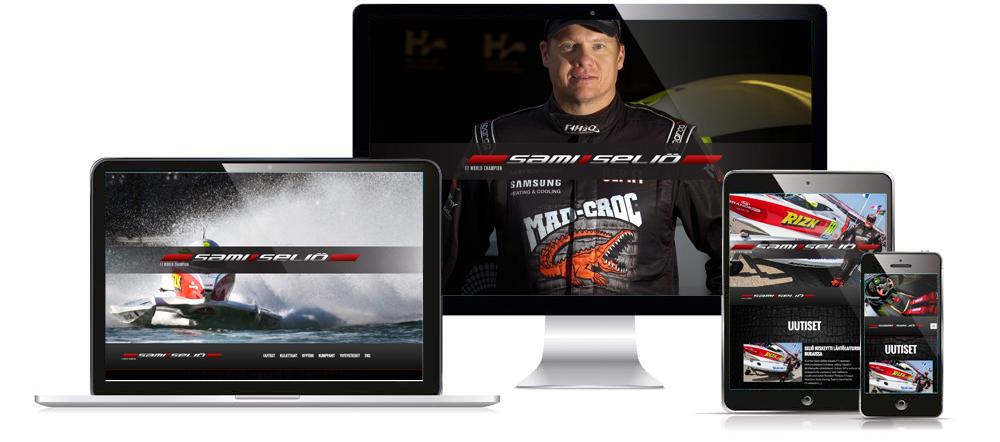 Sami Seliön verkkosivujen visuaalinen ilme eri laitteissa