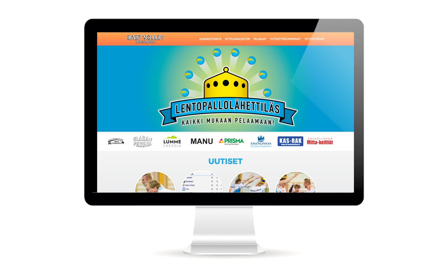 Työnäyte: East Volley visuaalinen ja graafinen suunnittelu sekä verkkosivujen suunnittelu ja toteutus