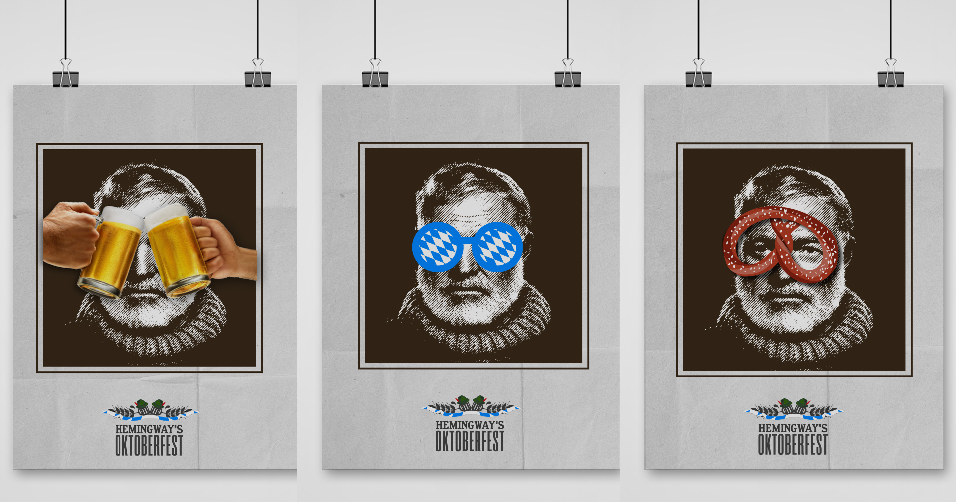 Työnäyte: Hemingways Oktoberfest kampanjajulisteet - Kampanjasuunnittelu, visuaalinen ja graafinen suunnittelu sekä mainonnan suunnittelu ja toteutus