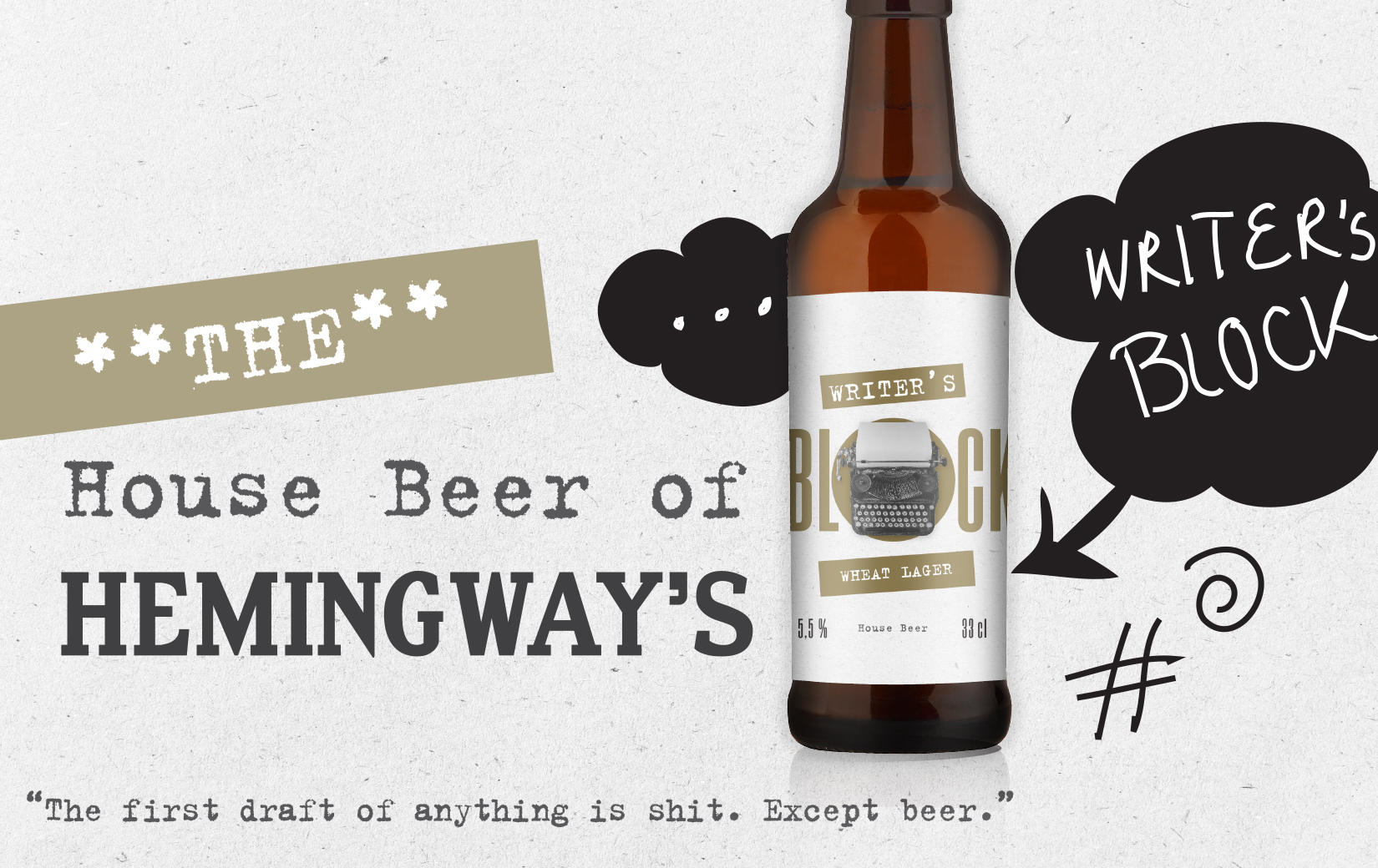 Työnäyte: Hemingways House Beer - visuaalinen ja graafinen suunnittelu