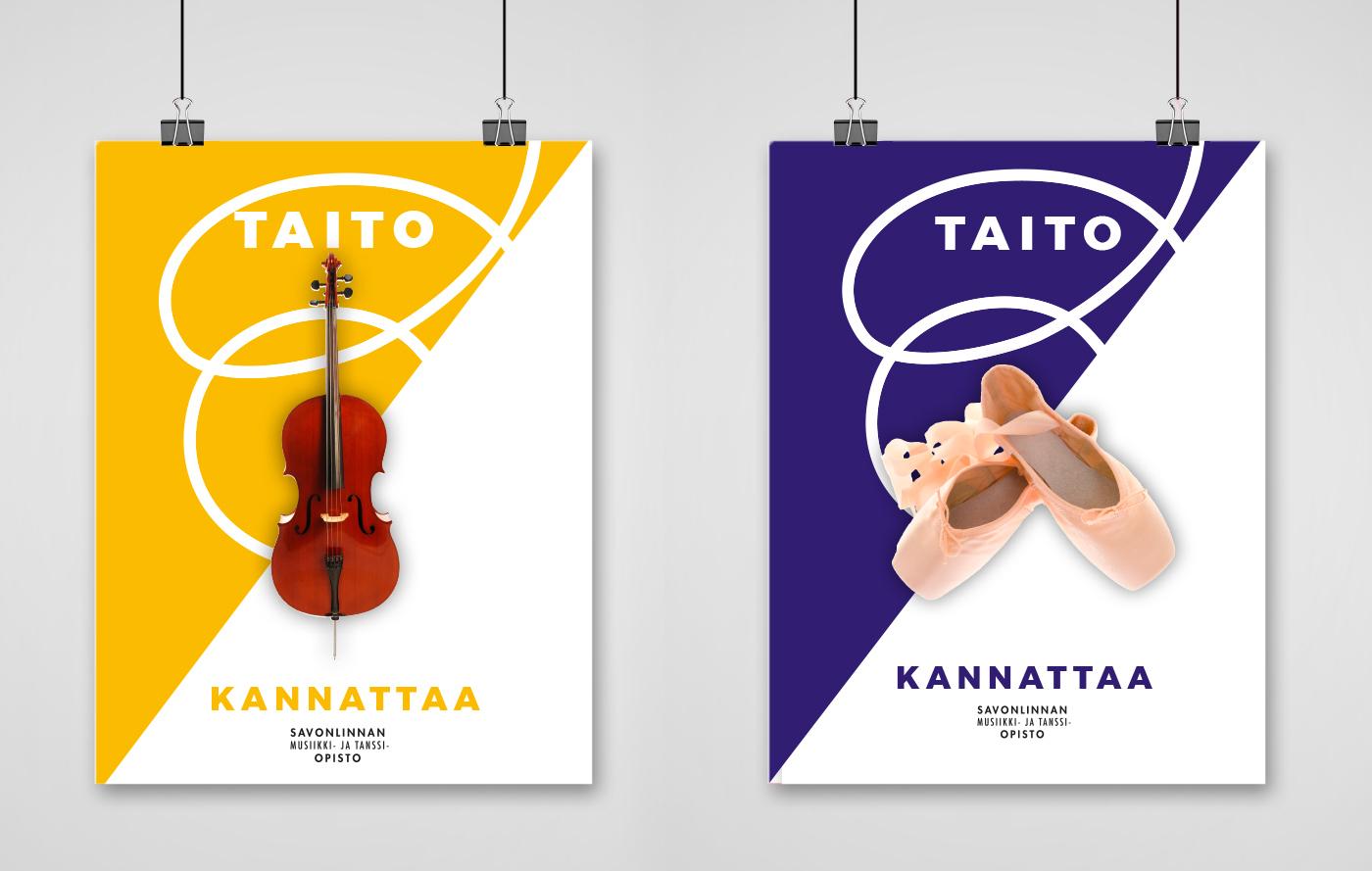 Työnäyte: Savonlinnan musiikki- ja tanssiopisto - Visuaalinen ja graafinen suunnittelu, verkkosivujen suunnittelu ja toteutus