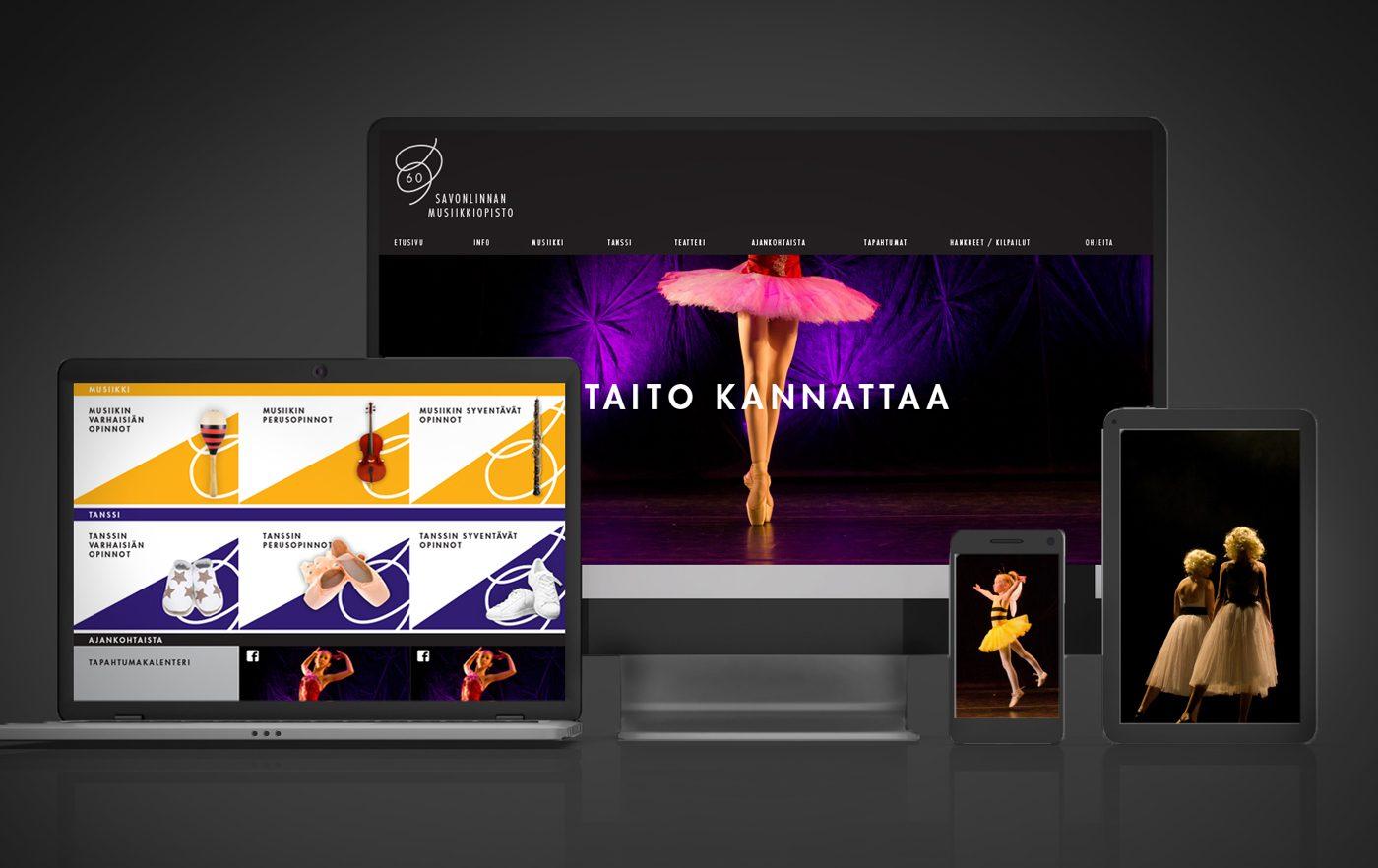 Työnäyte: Savonlinnan musiikki- ja tanssiopisto - Responsiivisten verkkosivujen suunnittelu ja toteutus, visuaalinen ja graafinen suunnittelu