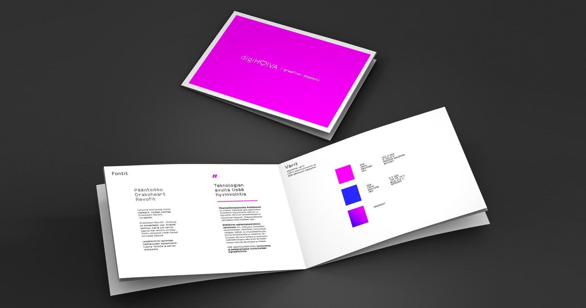 Työnäyte: digiHOIVA - visuaalinen ilme - roll up julkaisun suunnitteluTyönäyte: digiHOIVA - esite julkaisun suunnittelu ja toteutus, visuaalinen ja graafinen suunnittelu sekä logon ja tunnuksen suunnittelu