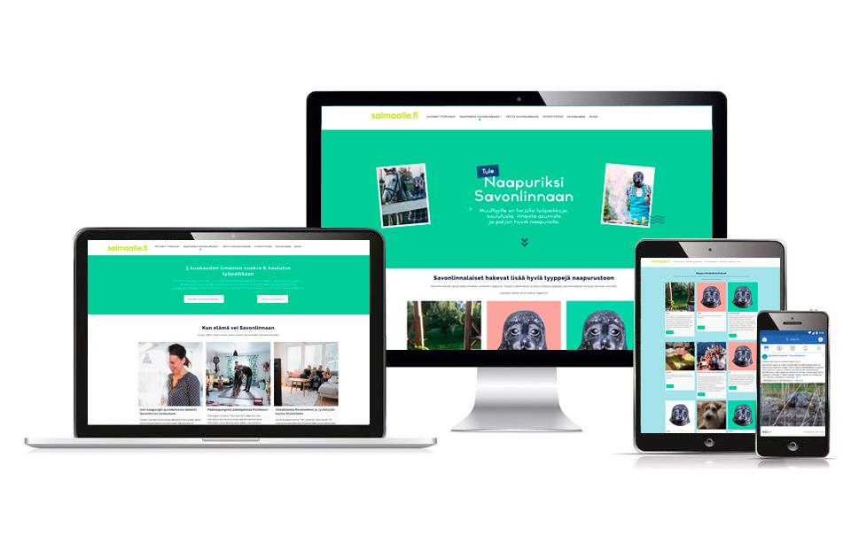 Työnäyte: Naapuriksi Savonlinnaan kampanjan verkkosivujen graafinen ilme eri laitteissa