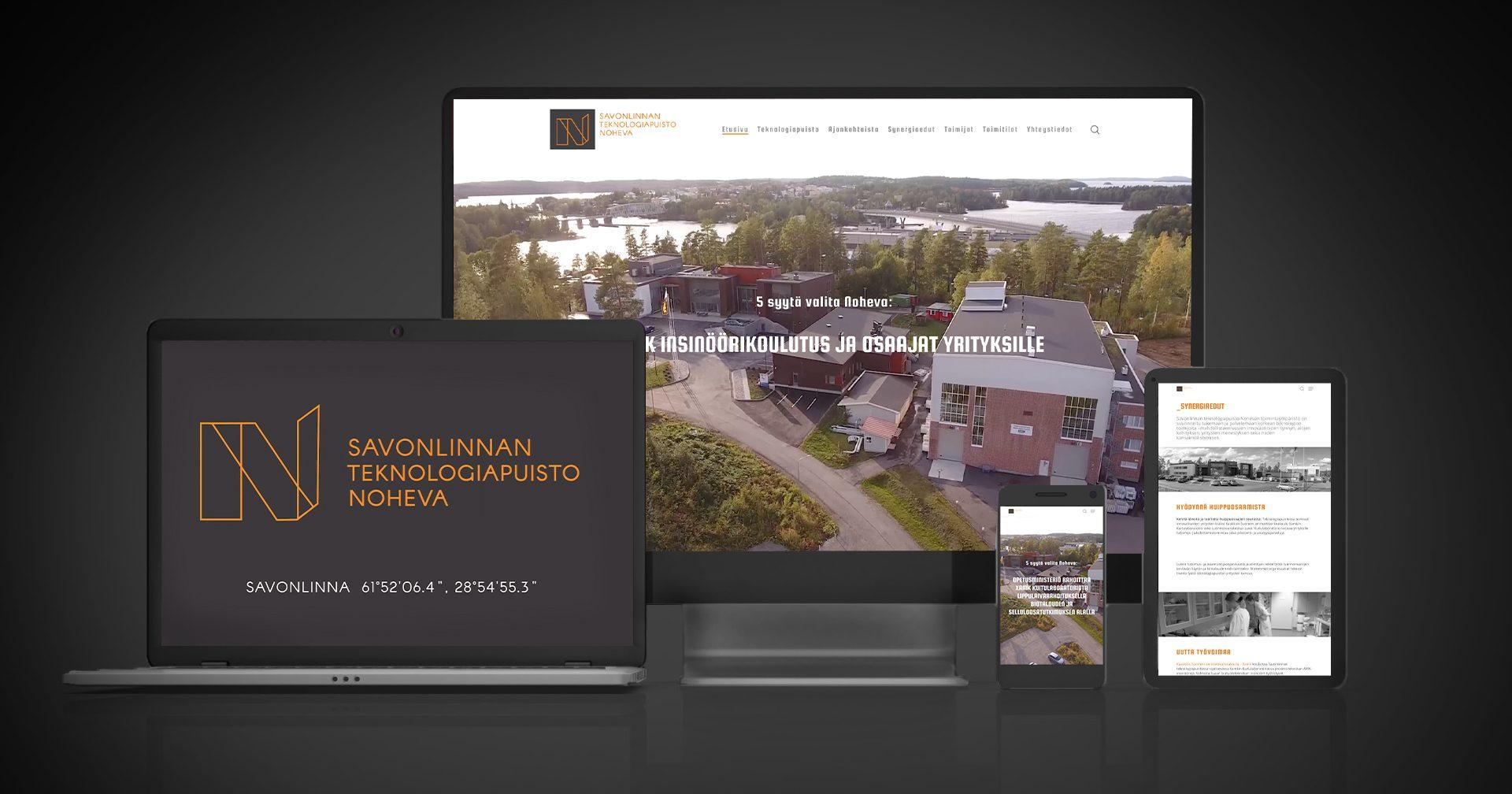 Työnäyte: Savonlinnan teknologiapuisto Noheva - Responsiivisen verkkosivuston suunnittelu ja kehittäminen