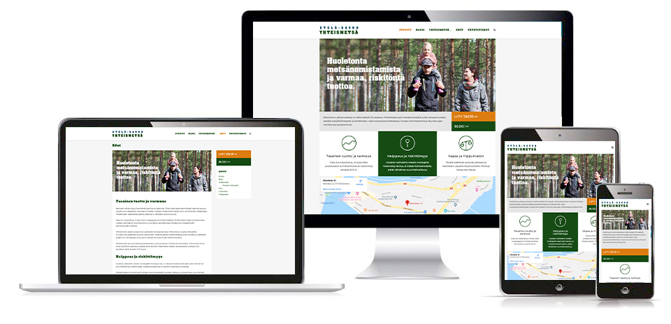Työnäyte: Etelä-Savon Yhteismetsä - Visuaalisen ja graafisen ilmeen suunnittelu sekä responsiivisten kotisivujen suunnittelu ja toteutus