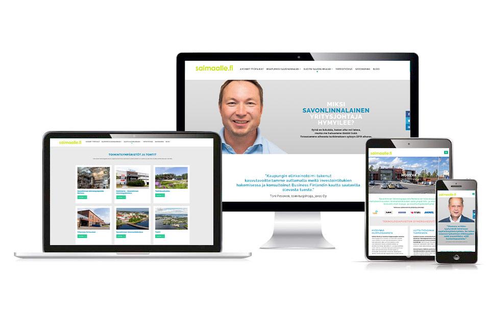 Työnäyte: Sijoitu Savonlinnaan -kampanja - Visuaalinen ja graafinen suunnittelu ja responsiivisen kampanjasivuston suunnittelu ja toteutus